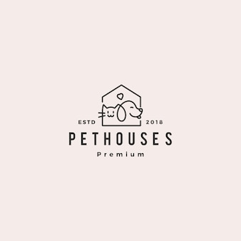 Dog cat pet house shop logo