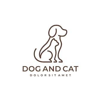 Dog and cat pet line logo design