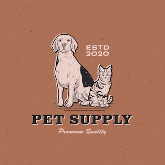 Dog cat pet supply vintage retro logo  icon illustration