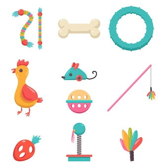 Dog and cat toys vector cartoon set isolated on a white background.