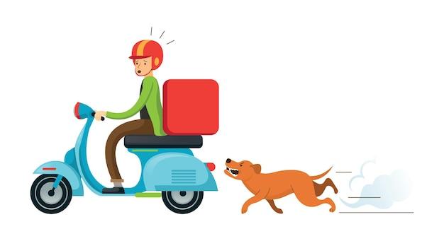 Собака преследует человека, катающегося на мотоцикле или скутере