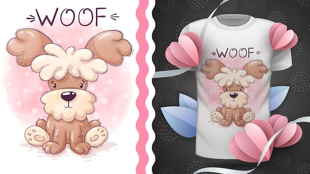 Dog childish cartoon character animal  idea for print tshirt