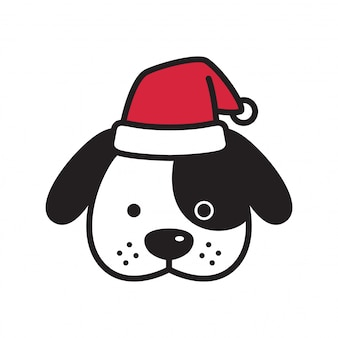 Dog christmas santa claus cartoon