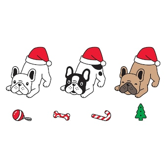 Dog christmas santa claus hat puppy cartoon character