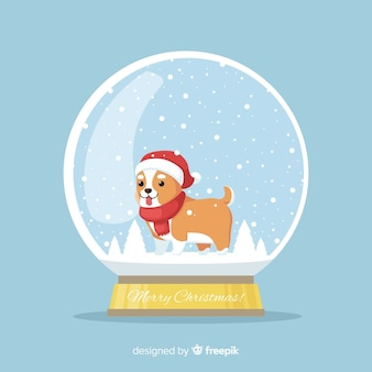 Dog christmas snowball