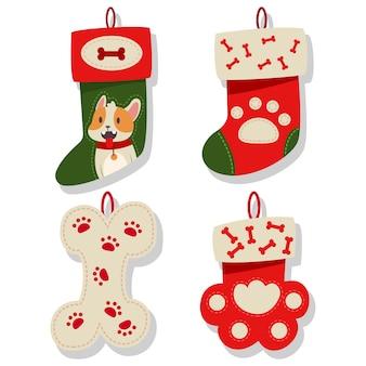 Коллекция икон рождественский чулок собаки. носки для щенка на белом фоне.
