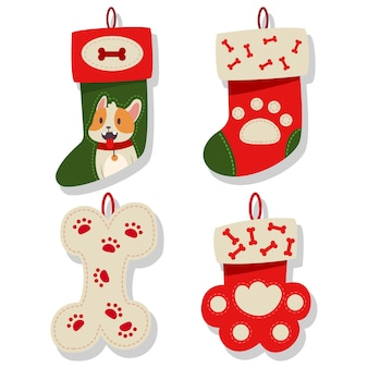 Dog christmas stocking icons collection. socks for puppy    set  on a white background.