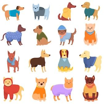 Набор иконок одежды собаки. мультфильм набор иконок одежды собаки