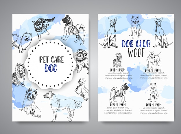 Dog club poster with hand drawn dogs breeds brochure