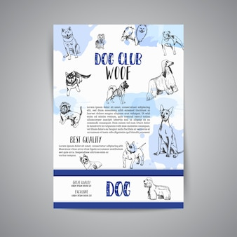 Dog club poster with hand drawn dogs breeds