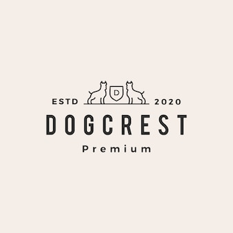 Dog coat of arms hipster vintage logo icon illustration