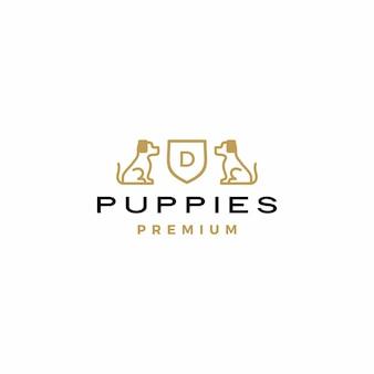 Dog coat of arms logo  icon