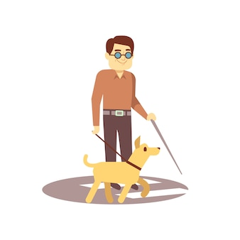 Dog companion and blind man on walk isolated on white background - blind person and guide dog