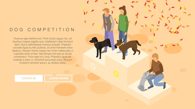 Dog competition concept banner, isometric style