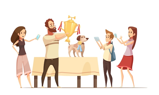 Dog composition with show victory cup and family cartoon vector illustration