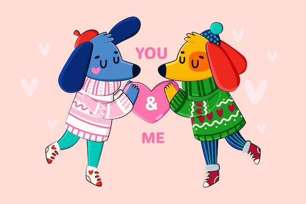 Dog couple hand drawn valentine background