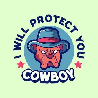 Illustrazione del logo delle mascotte del cappello da cowboy del cane