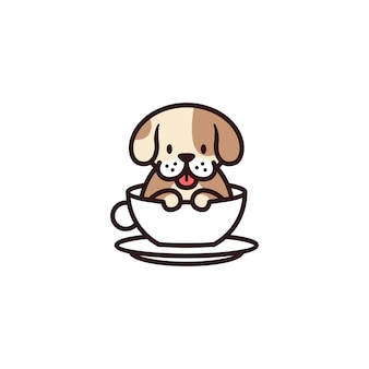 Dog cup mug glass cafe logo icon illustration