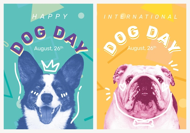 Dog day poster template editable pet event set