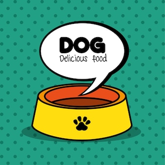 Dog delicious food plate clean green dot background