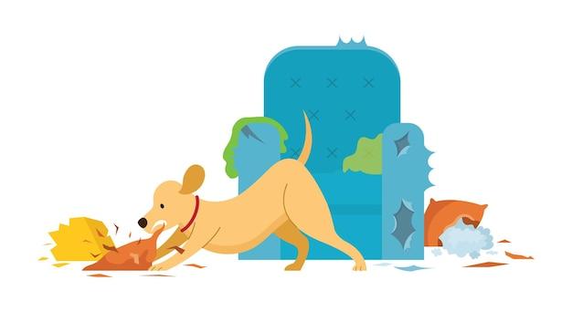 Собака разрушает мебель в доме