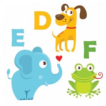 Dog, elephant, frog with alphabet letters