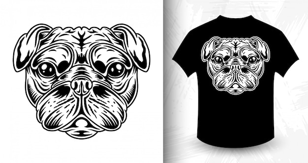 Dog face, idea for t-shirt in monochrome style