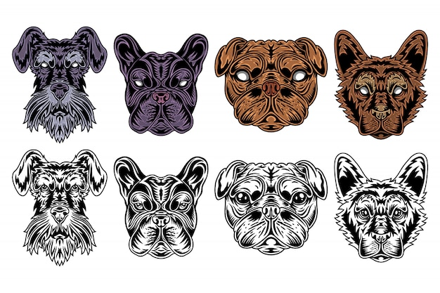 Dog face miniature schnauzer, french bulldog, pug, shepherd vintage retro style.