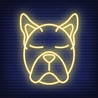 개 얼굴 네온 아이콘입니다. 의료 의학 및 애완 동물 관리에 대한 개념입니다. 개요 및 검은 가축. 애완 동물 기호, 아이콘 및 배지. 어두운 벽돌 쌓기에 간단한 벡터 일러스트 레이 션.