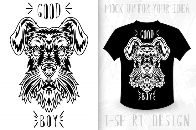 Dog face.  t-shirt print in vintage monochrome style.