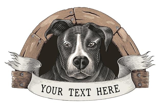 Собака фермы логотип рука рисовать старинные гравюры стиль картинки, изолированные на белом