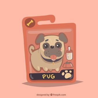 Sacchetto di cibo per cani con pug carino