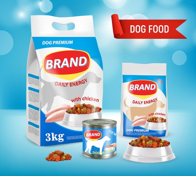 Dog food brand ad realistic