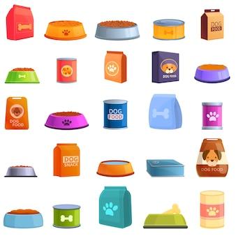 Набор иконок корм для собак. мультфильм набор иконок собачьей еды для интернета