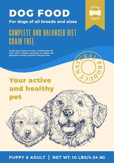 Dog food label template abstract vector packaging design layout modern typography banner with hand d...