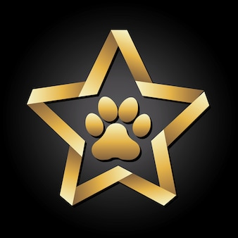 Dog footprint over black background vector illustration