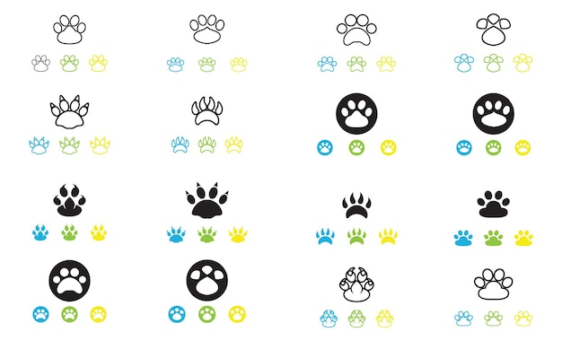 Логотип след собаки и вектор символа
