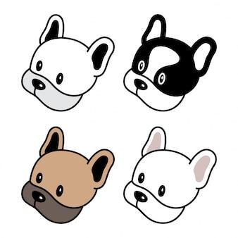 Собака французский бульдог мультфильм голова лицо персонаж иллюстрация