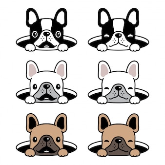 Собака французский бульдог мультфильм дыра
