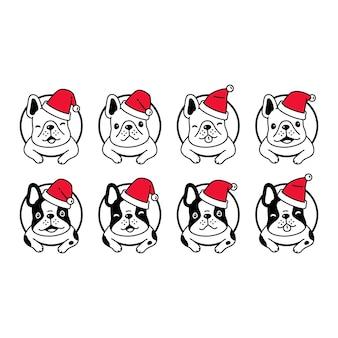 犬フレンチブルドッグクリスマスサンタクロース漫画