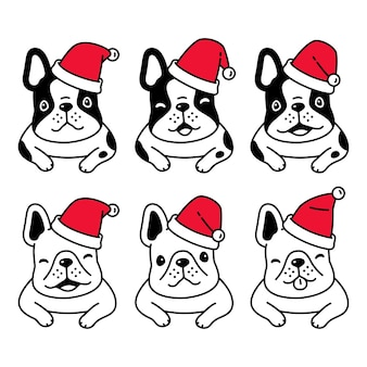 Dog french bulldog christmas santa claus hat