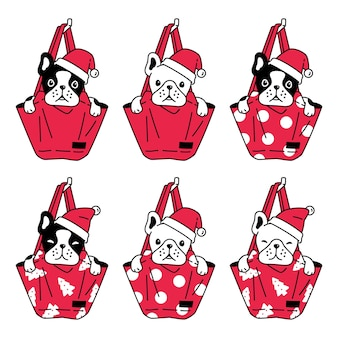 犬フレンチブルドッグクリスマスサンタクロースショッピングバッグ漫画