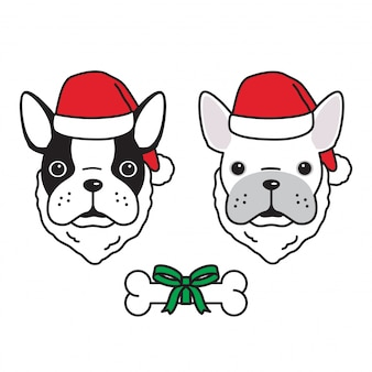 Dog french bulldog christmas santa claus
