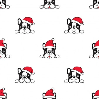 Dog french bulldog christmas seamless pattern santa claus hat