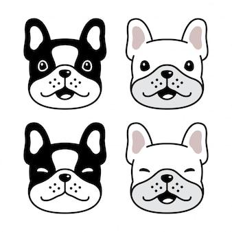 Собака французский бульдог лицо персонажа мультфильма иллюстрации