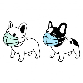Собака французский бульдог маска для лица covid-19 коронавирус иллюстрации шаржа