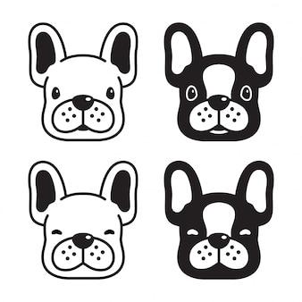 Собака французский бульдог голова лицо мультипликационный персонаж иллюстрация