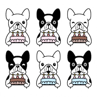 Dog french bulldog icon birthday cake pet cartoon