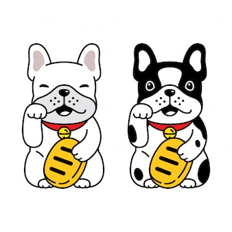 Dog french bulldog lucky cat maneki neko cartoon