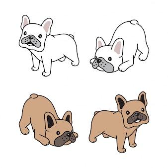 개 프랑스 불독 애완 동물 만화 일러스트 레이션